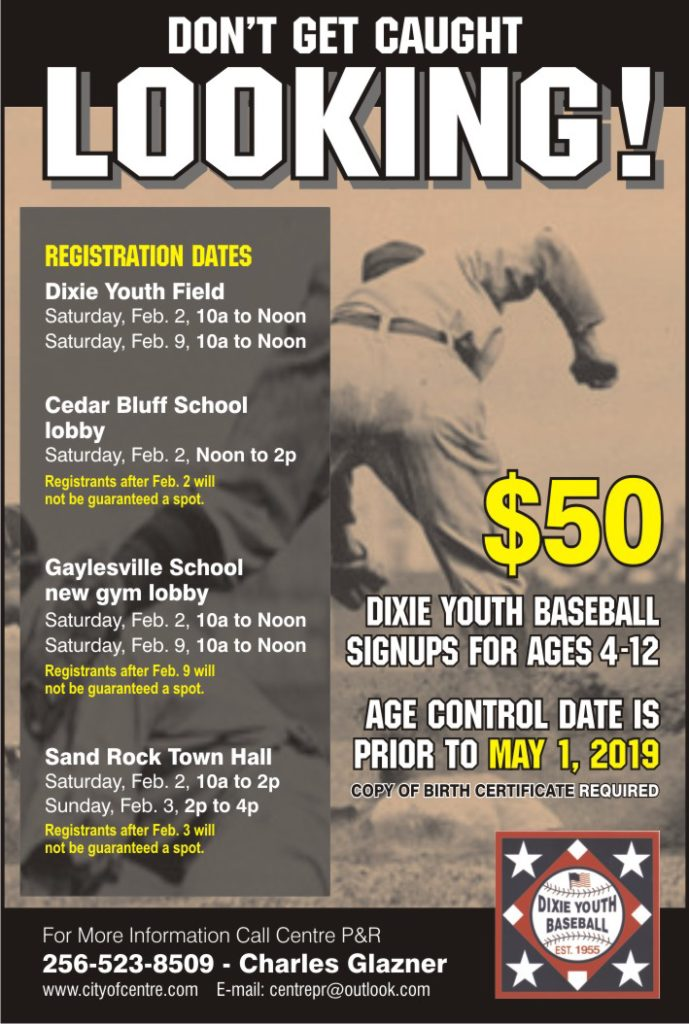 2019 Dixie Youth Baseball and Softball Registration | City of Centre